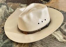 STETSON The Gun Club Shantung Straw Cowboy Hat Sz 7-1/4 Leather & Feather Trim