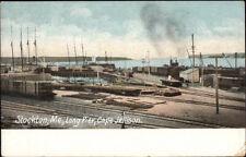 Stockton ME Long Pier Cape Jellison Shipping Scene c1910 Postcard