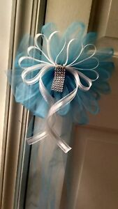 12pc Wedding White Turquoise & BLING Pew Bows  RUSH ORDERS AVAILABLE