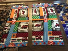 """Lot of 2 Train railroad fleece fabric, 60"""" by 27"""" and 60"""" by 24"""""""