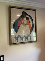 Large Native Anerican Tapestry Signed Woven Mother And Children Rare Htf