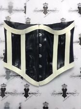 "R1187 Rubber Latex Couture 14UK/28"" *BLACK/WHITE* UNDERBUST CORSET Seconds"
