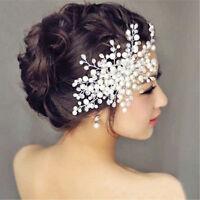 Fzeroinestore Bridal Wedding Party Prom Hair Comb Clip Pearls Crystal Rhinestone