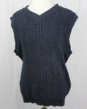 Woolrich L TALL vintage sweater VEST shirt LT made in USA v-neck thick BLUE