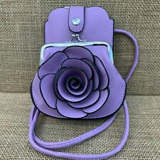 Lilac cross body Rose bag small purse with Phone Spectacles Holder 2 straps