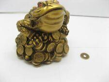 1X Brass Feng Shui Money Frog On Treasure fs-s61