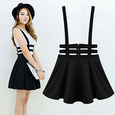 Womens Pleated Suspender Skirt Brace Hollow Out Bandage Mini Skater Dress Worthy