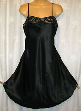 NEW LARGE GO SOFTLY BLACK SILKY SATIN BABYDOLL CHEMISE GOWN NIGHTGOWN