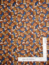 Football Sport Ball Toss Blue Cotton Fabric QT Dan Morris Gridiron By The Yard