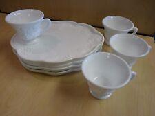 Vintage 8 Pc. Indiana Glass Colony Harvest Grape Milk Glass Snack / Luncheon Set
