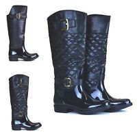 WOMENS WELLINGTON BOOTS POSH WELLIES LADIES THERMAL BUCKLE BLACK NEW 3,4,5,6,7