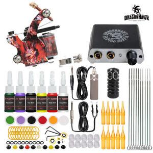 Dragonhawk Beginner Tattoo Kit Set Machine Gun Power Supply Needles Ink Grip Tip