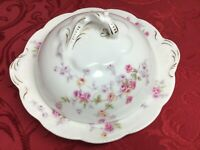"Vintage Bassett Limoges Austria Round Butter Dish 7 1/2 "" with Lid Rose Pattern"