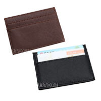 Men's Womens Faux Leather Small Id Credit Card Wallet Holder Slim Pocket Case