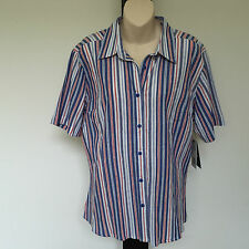 'BLACK PEPPER' BNWT SIZE '10' BLUE, PINK & WHITE STRIPED SHORT SLEEVE SHIRT