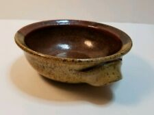 Pre-owned vintage Japanese Pottery Shallow Bowl earthy colors glazed signed