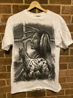 Vintage 90s Native American Chief Cherokee Tribal All Over Print Tshirt Large