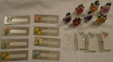 VINTAGE NAME PLACE CARD HOLDERS MIRRORED PORCELAIN JAPAN FLORAL FLOWER COMMODORE