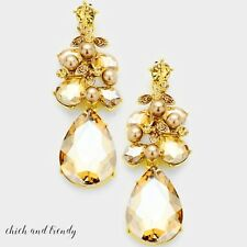 CHANDELIER GOLD PEARL & GLASS CRYSTAL EARRINGS FORMAL CHUNKY FASHION JEWELRY