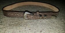 Nacona Womens Leather Belt Size 36 Brown Silver