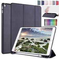 """For iPad Mini Air 10.5"""" 9.7"""" 10.2"""" 6th 7th Smart Leather Case Cover w Pen Holder"""
