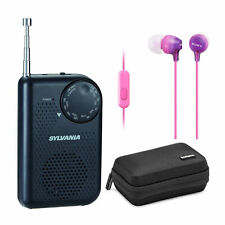 Sylvania Portable AM/FM Pocket Radio with Built-In Speaker, Black bundle