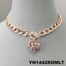 Multi Color Rhinestone Heart Pendant Rose Gold Chain Choker Style Necklace