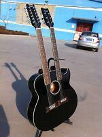 6/12 String Acoustic Electric Double Neck Guitar, 4eq, Cutaway, Black/W Gig Bag