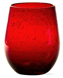 Red Bubble Artisan Stemless Wine Glass - TAG 16 oz -  FREE SHIPPING