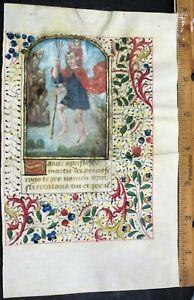 Illuminated vellum BoH leaf,miniature of St.Christopher carrying Christ,ca.1470