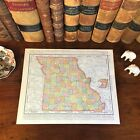 Large Original 1898 Antique Map MISSOURI Columbia Florissant Independence Joplin