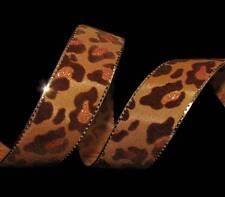"5 Yards Leopard Print Cheetah Animal Print Spots Gold Edge Ribbon 7/8""W"