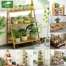 Wooden Palnt Stand Rack Flower Pot Shelf Bamboo Garden Indoor Outdoor