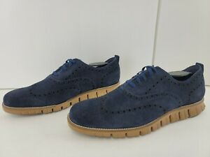 Cole Haan Mens ZeroGrand Oxfords Shoes Grand.OS Blue Suede Lace Up Wingtip 10 M