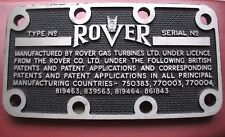 THIS REAR OPPORTUNITY TO OWN SOME ROVER GAS TURBINES MEMORABILIA CHASSIS PLATE