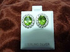 Beautiful Oval 5 ct. Periot & Zircon Earings 9.25 Sterling Silver