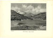 Stampa antica VALDIDENTRO Lago di Fraele Valtellina Sondrio 1934 Old print