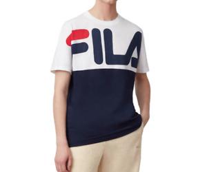 FILA Graphic T Shirt Mens Authentic Lenox Short Sleeve Jersey Cotton Tee Blue