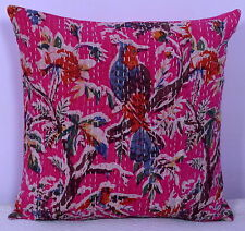 """16"""" KANTHA QUILTED CUSHION COVER VINTAGE DECORATIVE INDIAN COTTON SOFA COVER"""