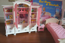 NEW GLORIA DOLL HOUSE FURNITURE BEDROOM & WARDROBE PLAYSET (24014)