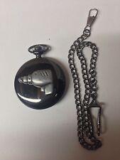 Drill Tool Emblem on a polished black case mens pocket watch