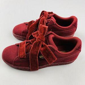 NEW Puma Suede Heart Velvet (Youth Size 6= 7.5 Women's ) Sneaker Burgundy Shoe