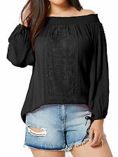 Capsule Black off Shoulder Embroidered Crinkle Top - Plus Size 12 to 30 30