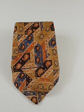 Zooby Mens Tie Brown Beige Blue 100% Silk Classic Fit