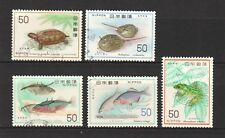 JAPAN 1976 - 1977 NATURE CONSERVATION SERIES NO. 3 (FISH & AMPHIBIAN) 5 STAMPS