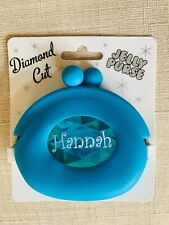 Jelly Diamond Cut Wallet Coin Purse Snap Closure Blue HANNAH Name Small Gift