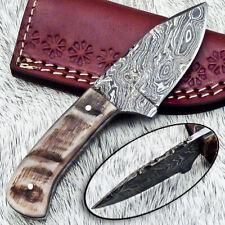 """NEW CUSTOM HANDMADE DAMASCUS 5.50"""" MINI HUNTING KNIFE RAM HORN HANDLE - UT-3591"""