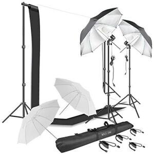 Set Profesional Para Fotografia Foto Y Video Con Fondo Blanco Y Negro Y Luces