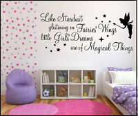 WALL ART STICKERS QUOTES STARDUST GLISTENING FAIRY GIRLS NURSERY BEDROOM PHRASES