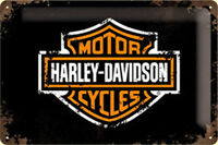 Harley Davidson Insignia (Ls ) con Relieve Acero Signo 300mm X 200mm (Na )